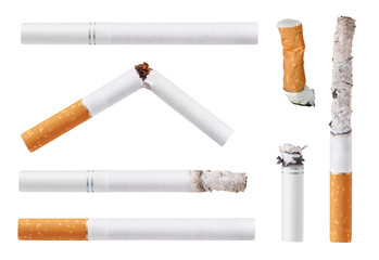 Set of cigarettes. Isolated on white background