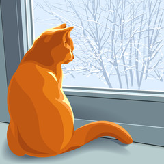vector, winter dreams red cat