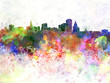 Hartford skyline in watercolor background