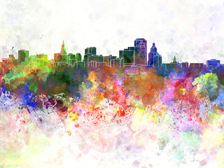 Hartford skyline in watercolor background