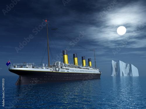 Leinwandbild Motiv Titanic and Iceberg
