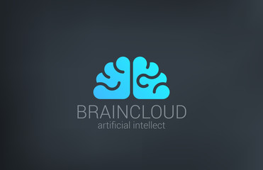 Brain Cloud Creative shape silhouette vector logo design