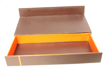 A  paper box in brown color, isolated.