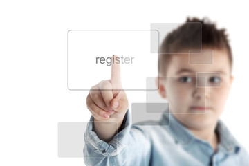 Register. Boy pressing a button on a virtual touchscreen.