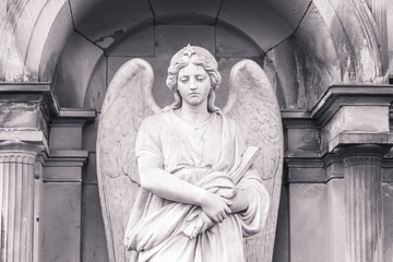 vintage shoot of an angel sculpture