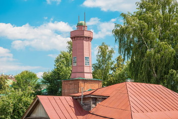 Old fire tower and the roofs of the old town