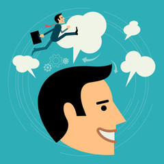 Flat style vector business man growth concept