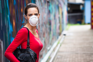 Unhappy woman wearing face mask