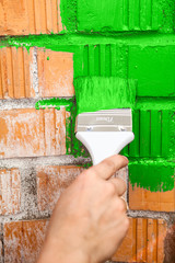 Orange brick wall painted with green color