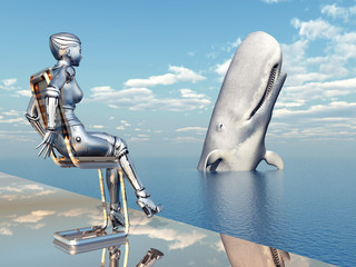 Female Robot and Sperm Whale