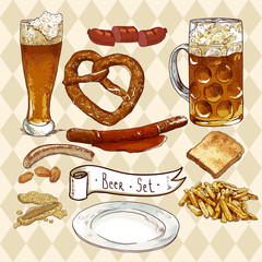 Beer Set with beer glasses, pretzel, sausages