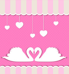 Pink background with swans