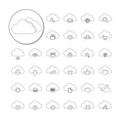 cloud computing icon set, line version,  vector eps10