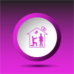 Home affiance. Plastic button. Vector illustration.