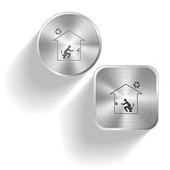 Home toilet. Vector set steel buttons