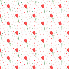 Red tulips seamless pattern