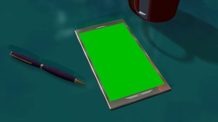Tablet PC Green Screen for Advertisement Presentation Commerce