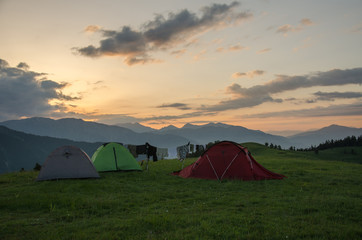 Camping at sunrise