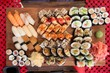 Sushi board - assorted nigiri, futomaki, hosomaki food