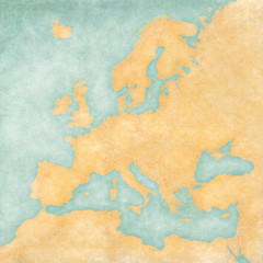 Map of Europe - Blank Map (Vintage Series) © Tindo