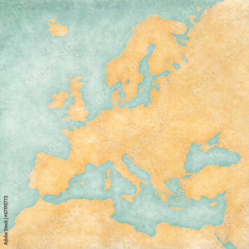 canvas print picture Map of Europe - Blank Map (Vintage Series)