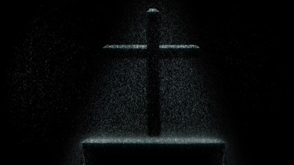 Dark scene with a cross in the rain over an altar.