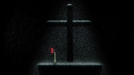 Dark scene with a cross and flower in the rain over an altar.