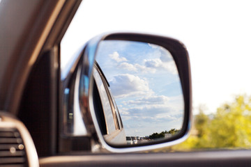 view on the mirror of car