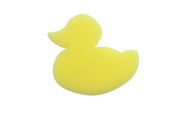 yellow sponge bath in shape duck isolated on white background