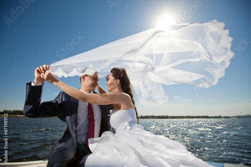 happy couple on the yacht - 67198952