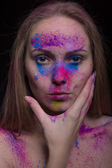 Girl with Splatter Makeup looking at Camera