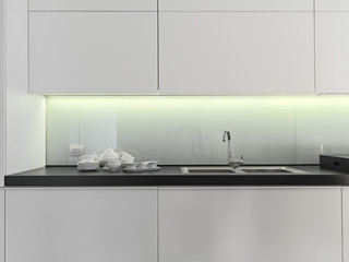 dishes on the worktop  in a modern kitchen near to sink