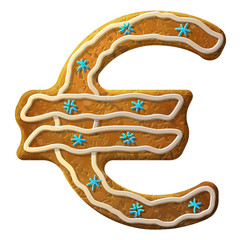 Gingerbread euro decorated colored icing