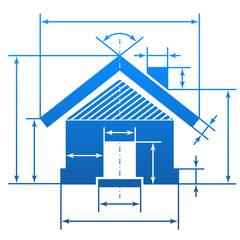 Home symbol with dimension lines for blueprint drawing