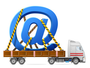 Road transportation of email sign in back of truck