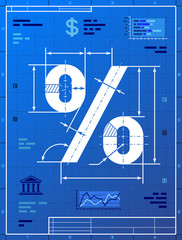 Percent sign like blueprint drawing. Vector concept