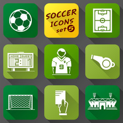 Flat icons set of soccer elements. Association football symbols