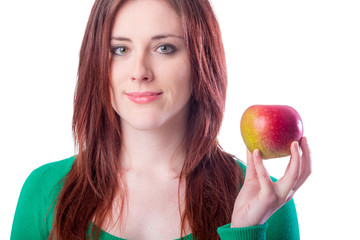 Beautiful Redhead Girl with Red Apple