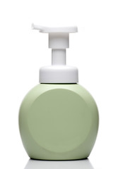 Green Pumping Lotion Bottle on White background