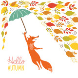 Fototapety cute fox fly with umbrella