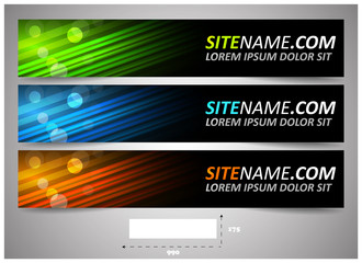 Web headers with precise dimension, set of vector banners