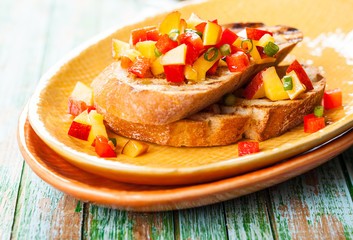 Bruschetta with Peach Salsa