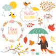 set of cartoon characters and autumn elements