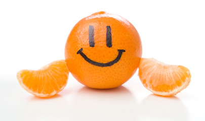 Smiling orange mandarin or tangerine fruit