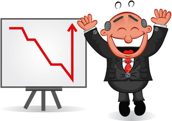 Business Cartoon - Boss Man Happy with Chart