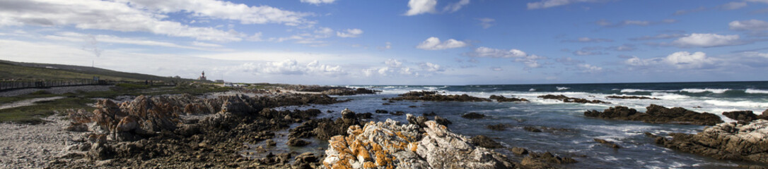 rocky shore wide panorama