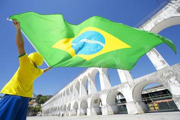 Brazilian Flag Man Arcos da Lapa Arches Rio de Janeiro