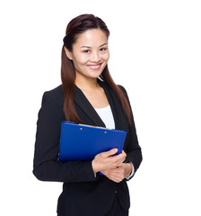 Asian business woman with file pad