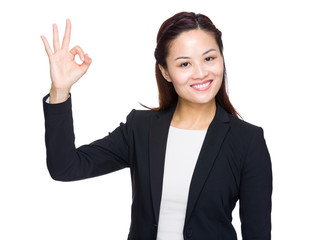 Asian business woman with ok sign