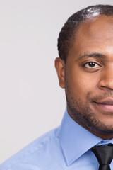 black handsome man face close-up.